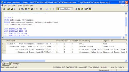 План выполнения запроса в SQL Query Analyzer